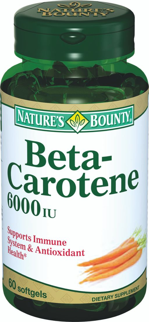Natures Bounty Бета-каротин 6000 МЕ, 4 мг, капсулы, 60 шт.